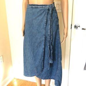 Gap Jean / Denim Midi Wrap Skirt with Tie